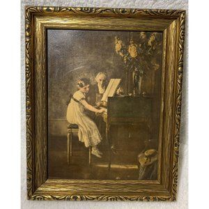 """Vintage Victorian 12"""" x 13"""" gold frame piano girl"""
